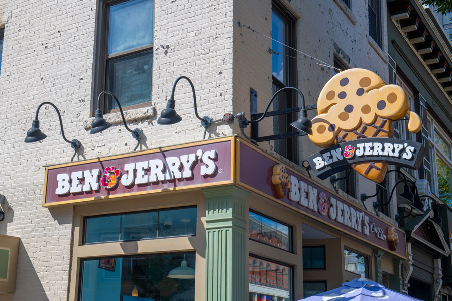 Ben & Jerry's ice cream shop on 940 Elm Street at Stark Street in downtown Manchester, New Hampshire NH