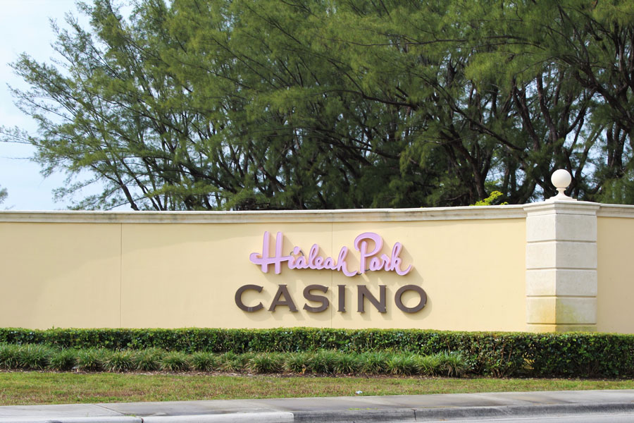 Outdoor sign for Hialeah Park Casino in Hialeah, Florida in April 2021. File photo: Blueee77, Shutterstock.com, licensed.