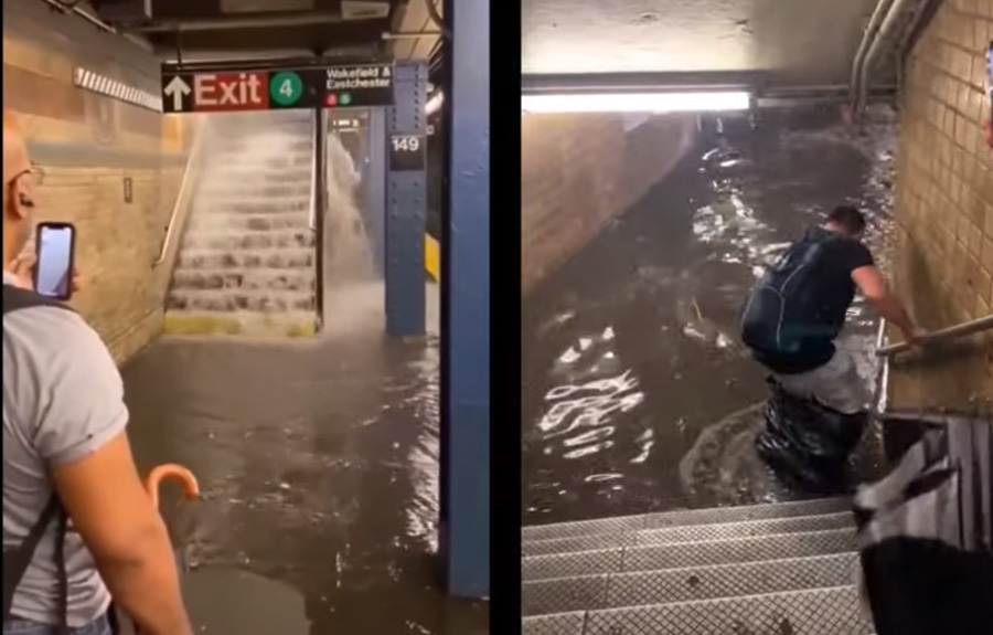 Social media was flooded with multiple videos of the watery impact of Elsa's passing upon NYC, including footage of a woman stumbling into filthy, waist-deep water as she was making her way to the gates of the 157th Street No. 1 train station in Washington Heights.