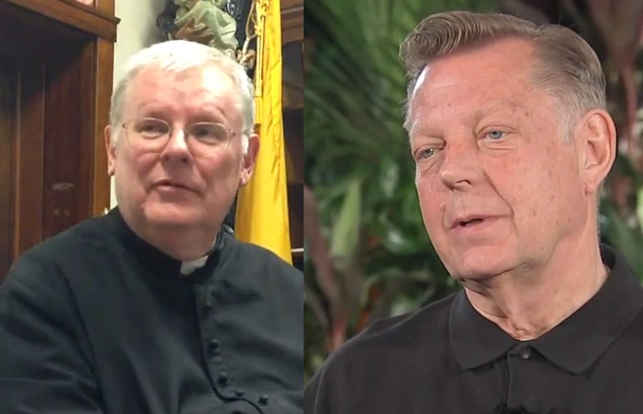 Father C. Frank Phillips, CR, founder of the Canons Regular of St. John Cantius (left) and , Father Michael Pfleger, who was temporarily removed from public ministry while the Archdiocese of Chicago.