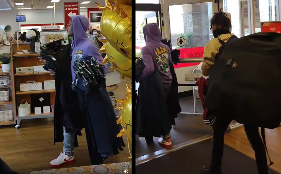 The crooks can be seen in bystander video carrying loads of clothing and other items, and one of the suspects even had an enormous backpack of sorts, presumably also laden with ill-gotten gains from the store.