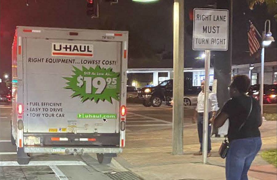 According to detectives, the box truck was traveling southbound just north of the intersection of North Ocean Drive and Commercial Boulevard when, for an unknown reason, the vehicle left the roadway and hit the victim who was walking on a sidewalk on the west side of the roadway with his wife.