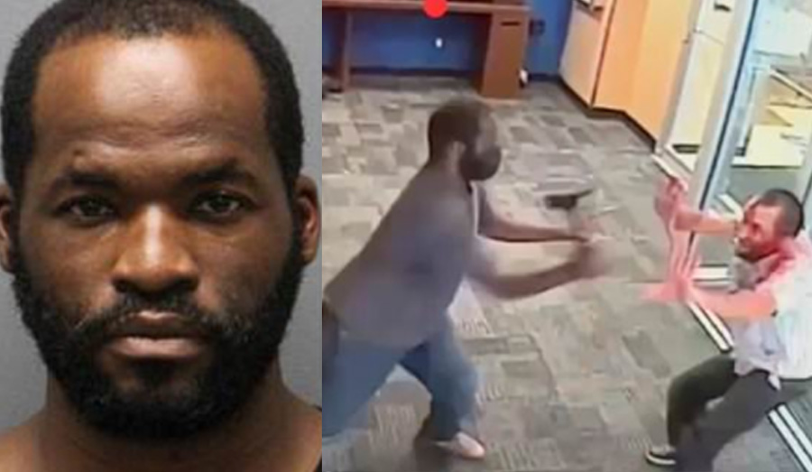 The attack,which was caught on surveillance video, showed Aaron Garcia, 37, walk into a Chase Bank on Broadway near Beaver Street in the Financial District, remove a hatchet from a backpack, and use it to attack a random 51 year-old ATM customer, cops say.