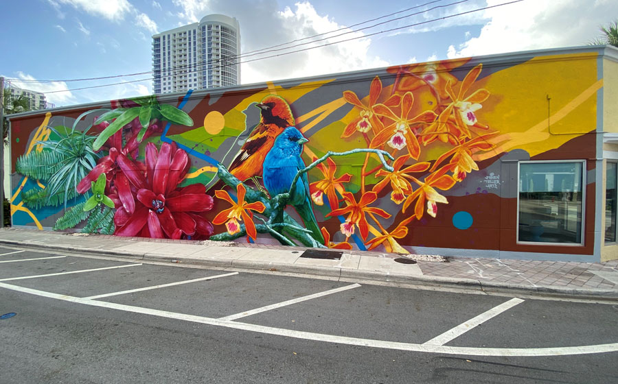 nspired by Florida's unique fauna and flora, the vibrant color scheme of the mural represents South Florida's tropical environment, expansive waterways, its progressive new age society, and cosmopolitan nature.