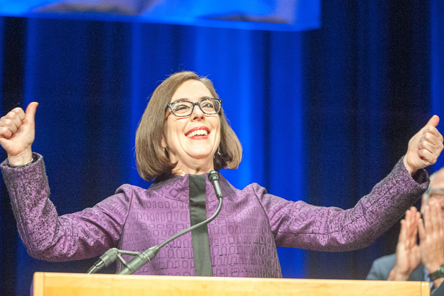 Democratic Governor of Oregon, Kate Brown, as she gave her victory speech at the Convention Center for the Democratic Party election night head quarters in Portland, OR. November 8, 2016.
