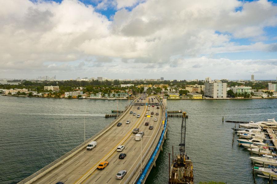 John F Kennedy Causeway in North Bay Village, Florida.