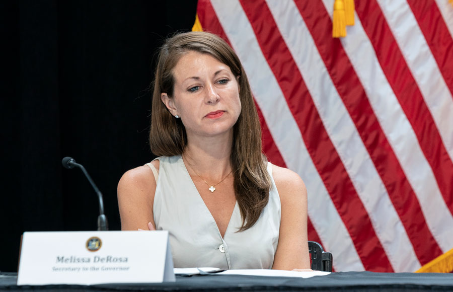 Secretary to the Governor, Melissa DeRosa, attending Cuomo's announcement and briefing on NY's COVID-19 response at Iona College at New Rochelle. May 29, 2020. File photo: Lev Radin, Shutterstock.com, licensed.