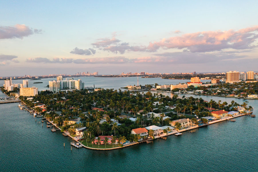 A birds eye view of the tiny two Islands that make up North Bay Village in the Miami area of South Florida.