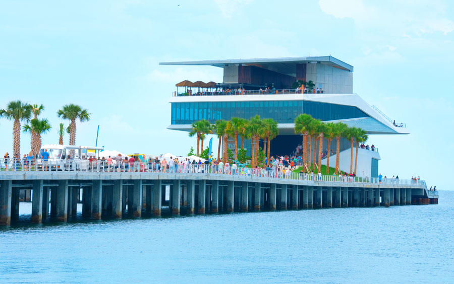 The restaurants building on the end of the new St. Pete Pier in Saint Petersburg, Florida, during its grand opening weekend in July 2020.