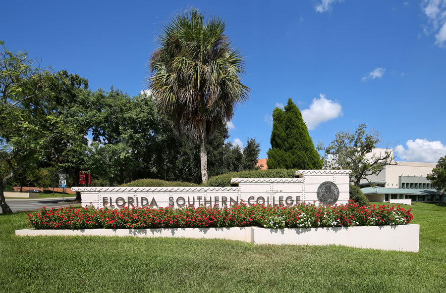 Florida Southern College name in stone borders the college. In 2012 the campus was voted the most beautiful campus by The Princeton Review, as seen on October 6, 2018.
