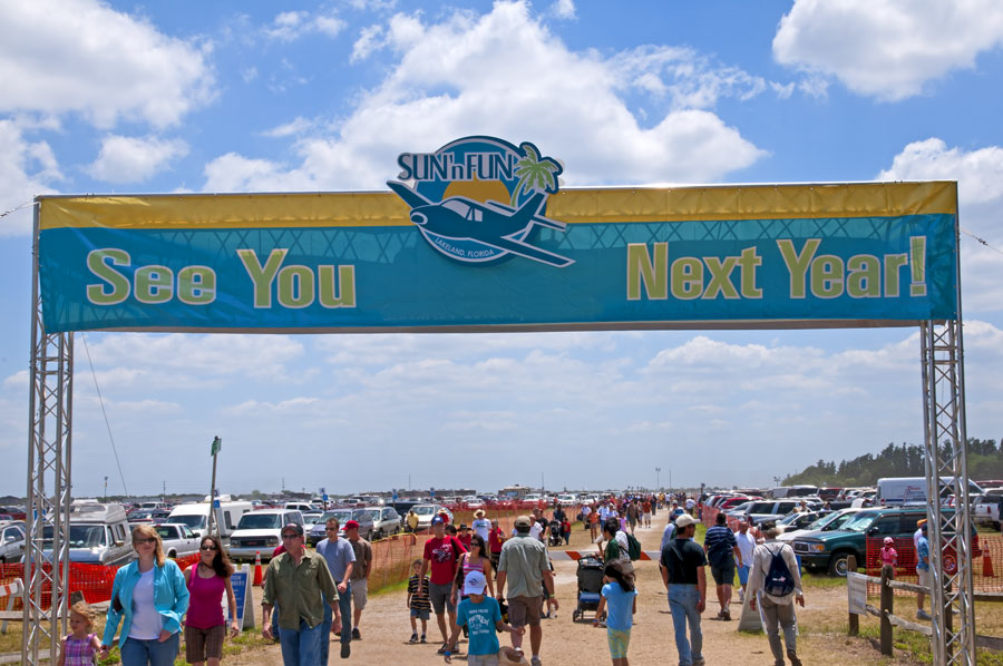 Visitors arriving at the airport for the Sun and Fun Air Show held annually in Lakeland, Florida