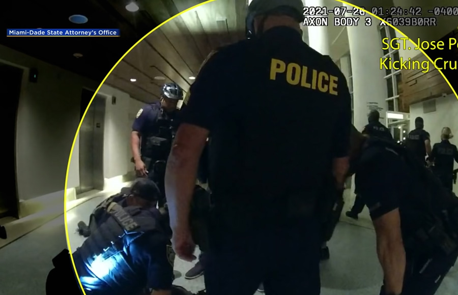 Five Miami Beach police officers have been charged with first degree battery for allegedly using excessive force during arrests at a Miami Beach hotel. The rough arrests were caught on surveillance video which was released Monday by the State Attorney's Office.
