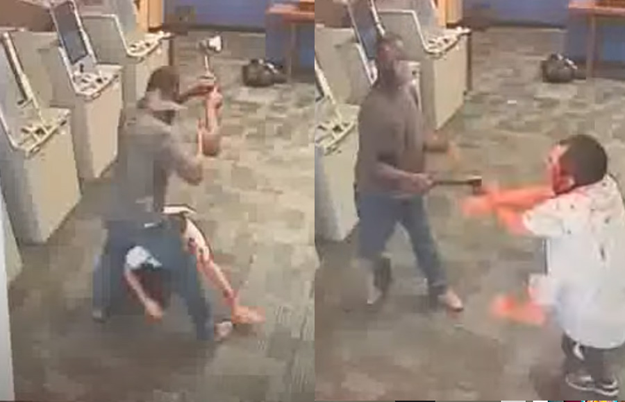 The victim attempts to defend himself against the hatchet-wielding maniac, but is nonetheless struck multiple times and is soon covered in blood.