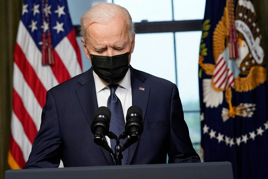 President Joe Biden speaks from the Treaty Room in the White House about the withdrawal of U.S. troops from Afghanistan. Washington, D.C.