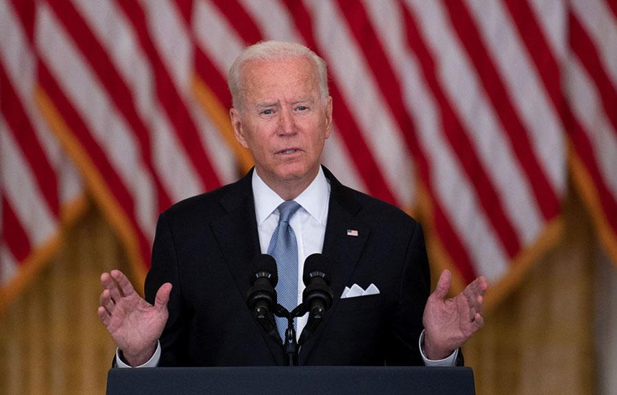 U.S. President Joe Biden speaks about the withdrawal of U.S. troops from Afghanistan. Washington, D.C.