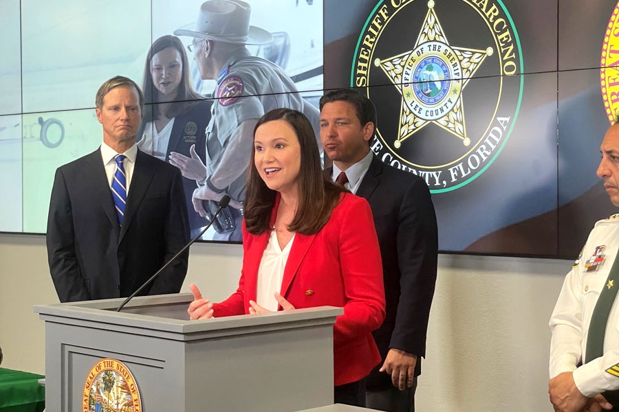 Today, Florida AG Ashley Moody said she joined Governor of Florida Ron DeSantis to send a strong message to President Biden