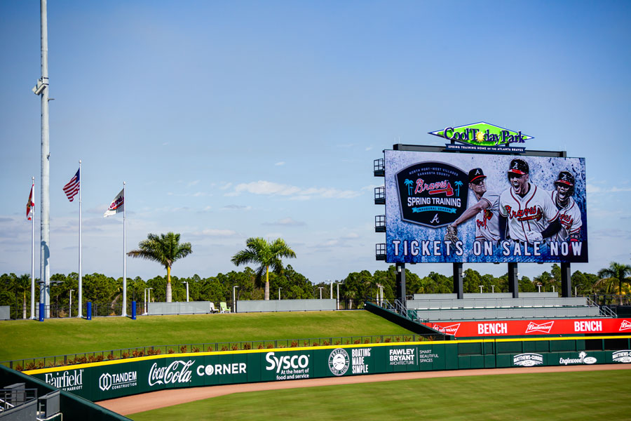 The left field berm and scoreboard at the new Atlanta Braves spring training baseball facility in Florida is shown.