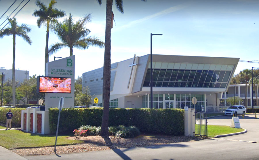 St. Brendan High School, a co-educational private Catholic high school in Miami-Dade County, Florida.