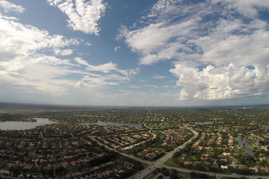 An aerial view of Coral Springs Florida which is just south of Parkland and to the West of Margate and Coconut Creek.