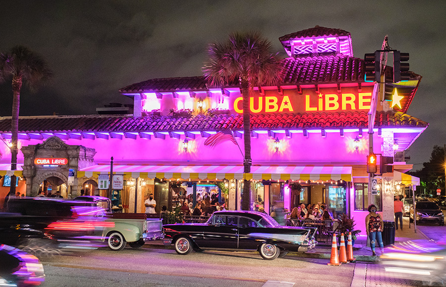 Cuba Libre Restaurant & Rum Bar is located at the corner of E. Las Olas Boulevard and SE 8th Ave. on a beautiful tree-lined street in a pedestrian-friendly section of downtown Fort Lauderdale.