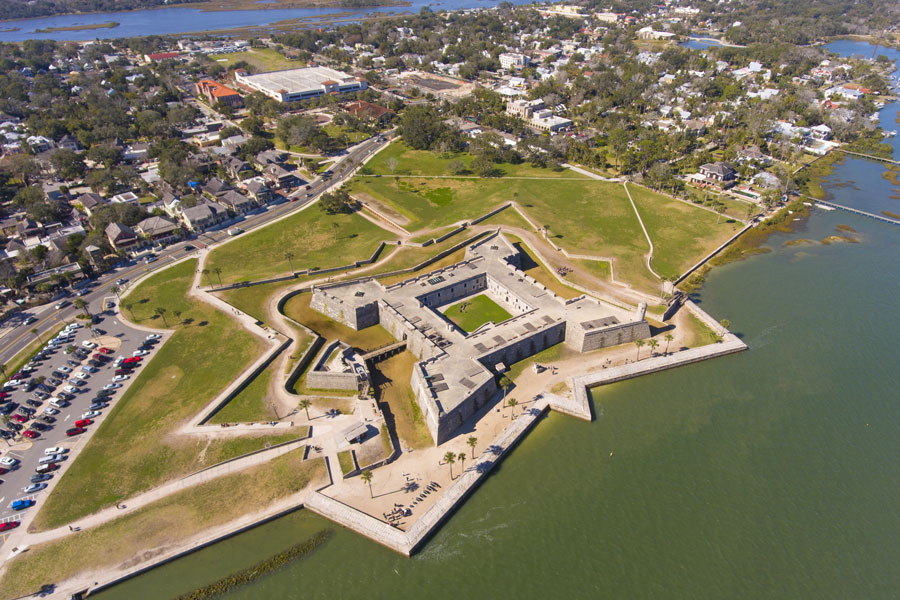 St. Augustine, Florida FL. This fort is the oldest and largest masonry fort in Continental United States and now is the US National Monument.