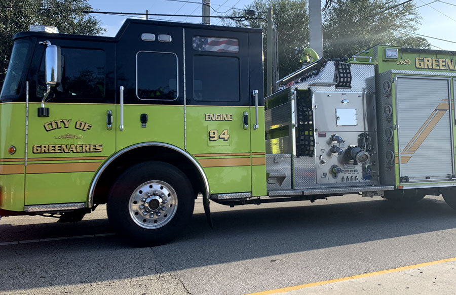 Greenacres Fire Rescue in its way to a vehicle accident on September 6, 2021.