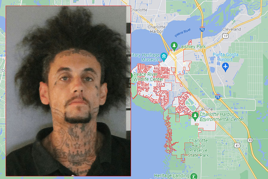 Christopher Kyle Holloway, 33, of Punta Gorda, was cleared by medical staff at a local hospital and was then transported to the Charlotte County Jail where he remains on charges of burglary and petit theft.