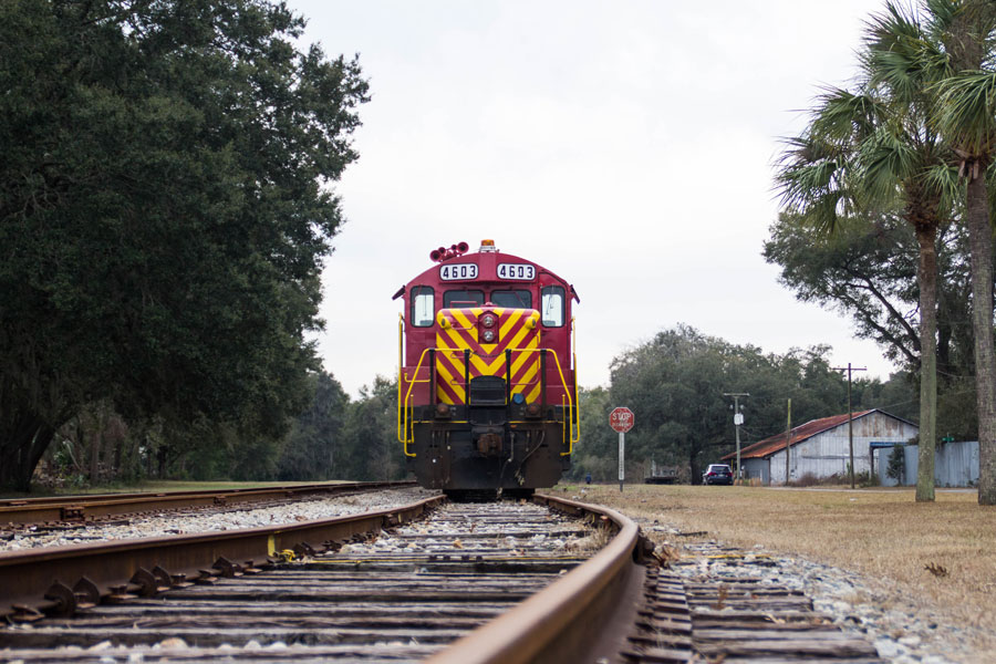 A train parked on the tracks in Newberry, Florida.