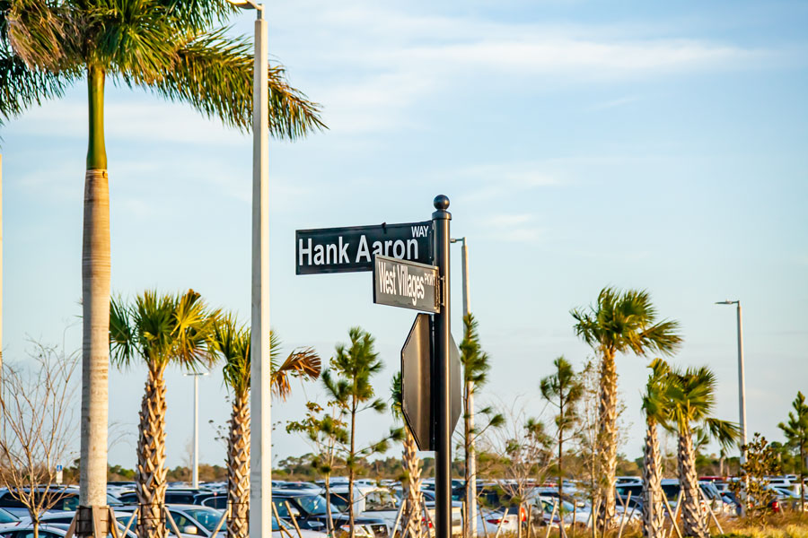 Street sign honoring Hank Aaron outside of the Atlanta Braves Spring training facility, Cool Today Park. North Port FL March 9, 2020.