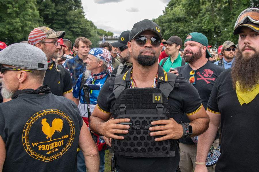 A Proud Boys rally IN Portland, Oregon, featuring the Three Percenters and Oath Keepers. September 17, 2019. File photo: Doug Brown Media, Shutterstock.com, licensed.