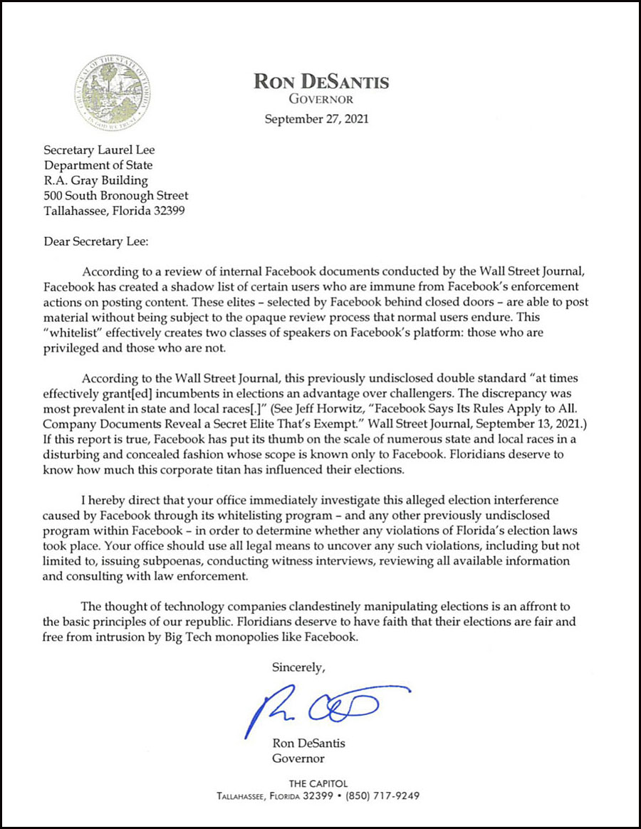 DeSantis wrote a letter to Florida Secretary of State
