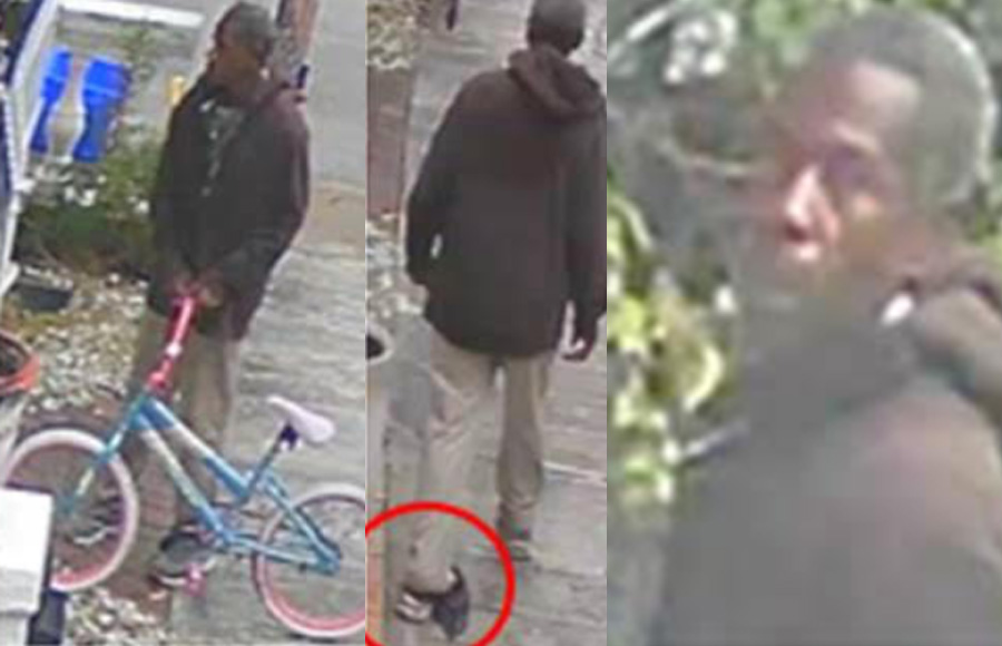 According to authorities, the unknown suspect walked on to the victims fenced property, stole a red mountain bicycle and left a huffy style bicycle behind.The suspect appeared to have short-cropped hair, a goatee or beard, and had a plastic bag wrapped around his left ankle. He was wearing a dark colored zippered hoodie and khaki pants. His tennis shoes appeared to be gray in color.