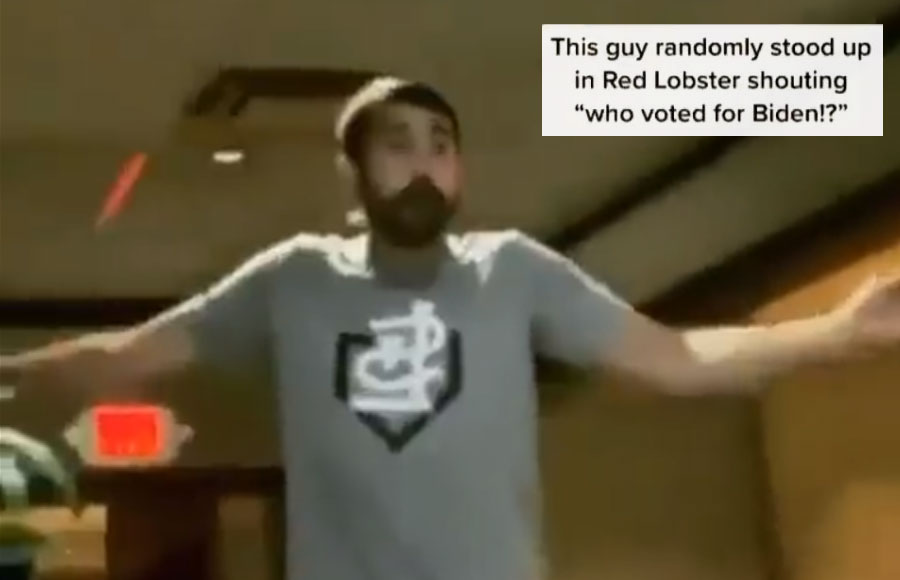 On the day 13 US service members were killed at the Kabul airport, a man claiming to be an Iraq war veteran stood up in the middle of a Red Lobster restaurant, and asked customers who voted for Biden?