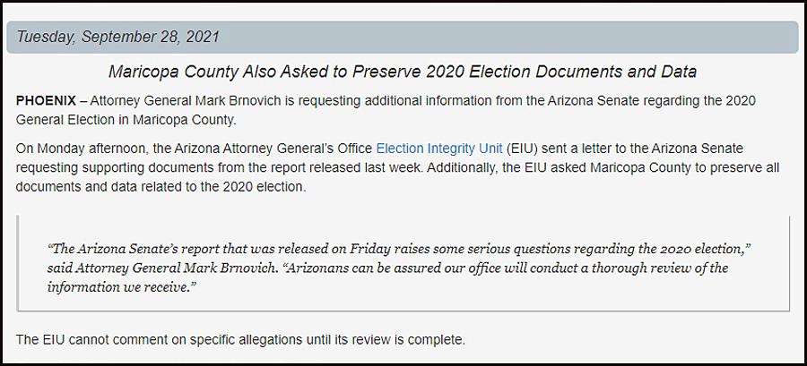 Written Statement from Arizona Attorney General Mark Brnovich