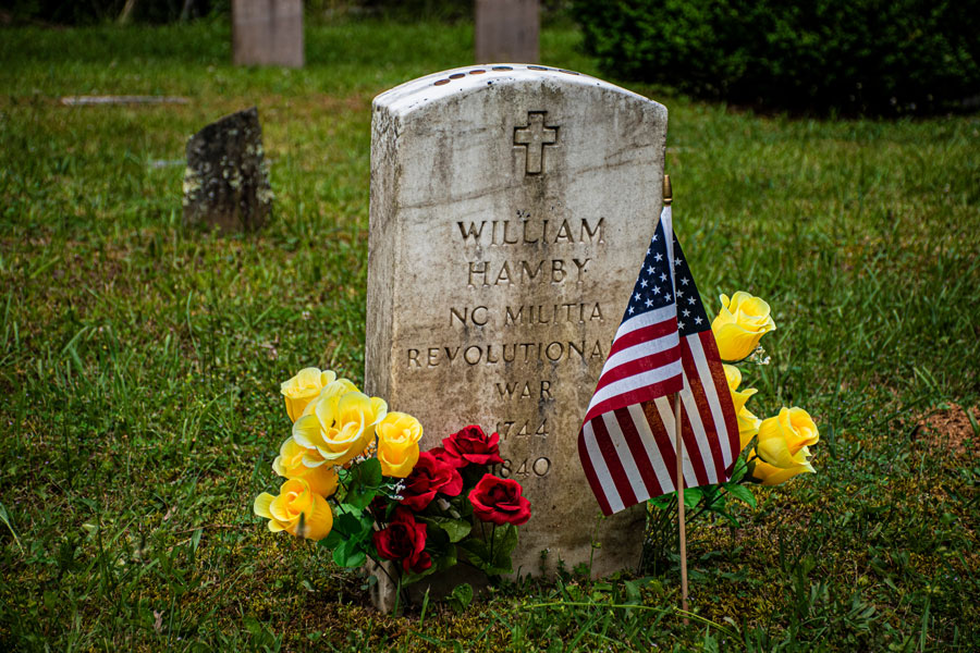 A headstone or gravestone in Cades Coves marking the grave of American Revolution Soldier William Hamby on Memorial day for honoring the military