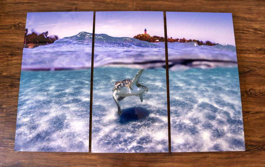 """Hobe Sound photographer Jeff Biege's """"Inlet Paradise"""" is one of many images he captures of our area's beautiful waterways. Mounted on metal, or framed with reclaimed wood, visitors will appreciate his unique perspective."""