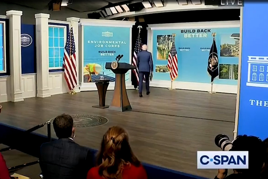 The president is being mocked after using a fake White House set on a stage across the street from the White House which is furnished with flags, desks and fake windows displaying pictures of the flowers in the Rose Garden in spring bloom.