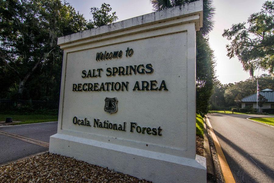 Salt Springs Recreation Area Entrance Sign