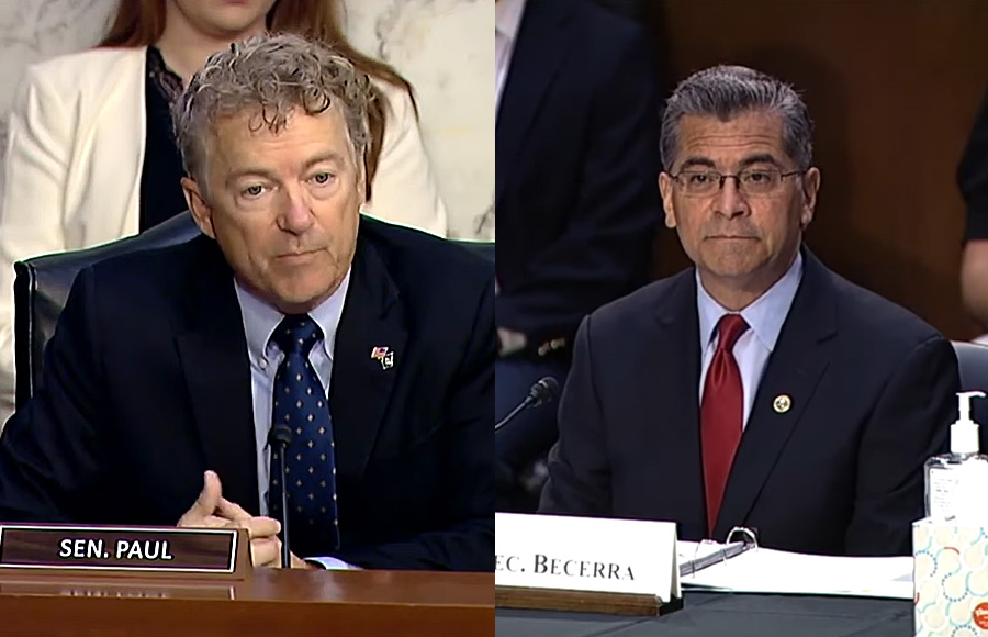 Sen. Rand Paul (R-KY) grilled HHS Sec. Xavier Becerra during a Senate Health Committee hearing on Thursday.