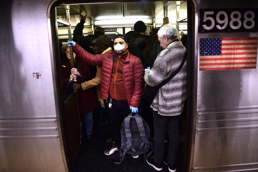 jam-packed subway cars
